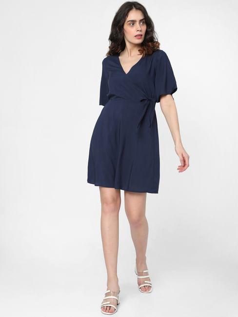 Blue Wrap Fit & Flare Dress