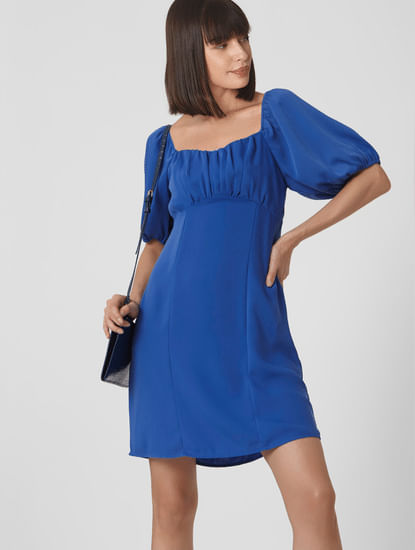 Blue Puff Sleeves Fit & Flare Dress