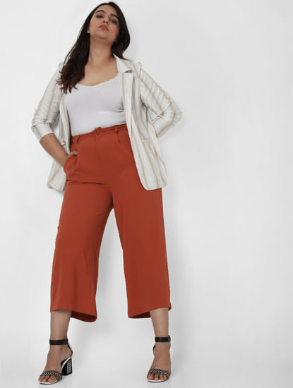 Brown High Rise Wide Leg Pants