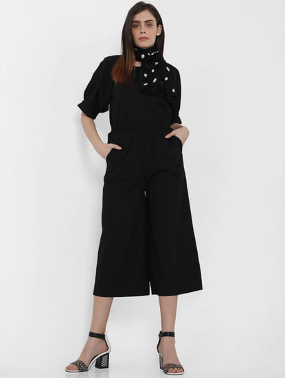 Black Schiffli Detail Jumpsuit