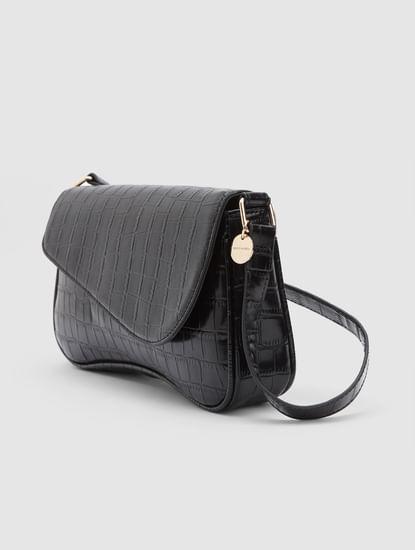 Black Asymmetric Flap Sling Bag