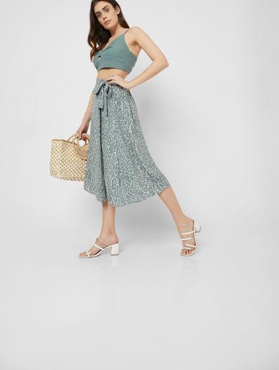Green High Waist Printed Wrap Skirt