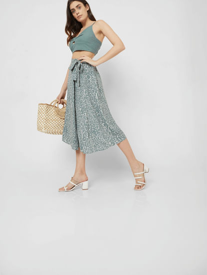 Green High Waist Printed Wrap Skirt
