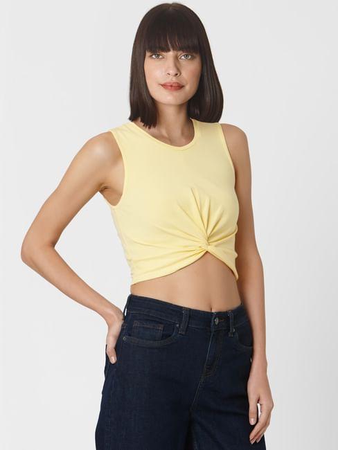 Yellow Front Twist Crop Top