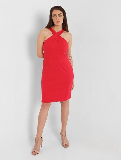 Red V Neck Sheath Dress