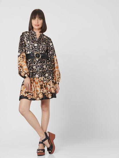Black Paisley Print Fit & Flare Dress