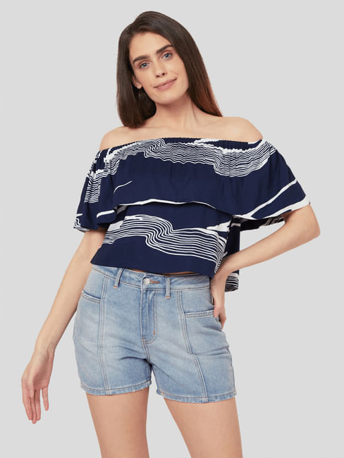 Blue Abstract Wave Print Top
