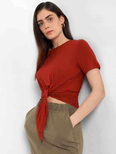 Burnt Red Front Knot T-shirt