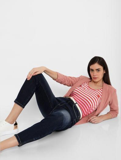 Blue High Rise Ankle Zipper Slim Jeans