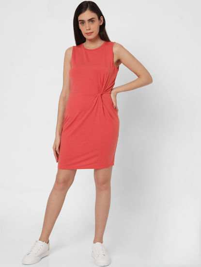Coral Knot Detail Bodycon Dress