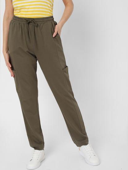 Green High Rise Cargo Pocket Pants
