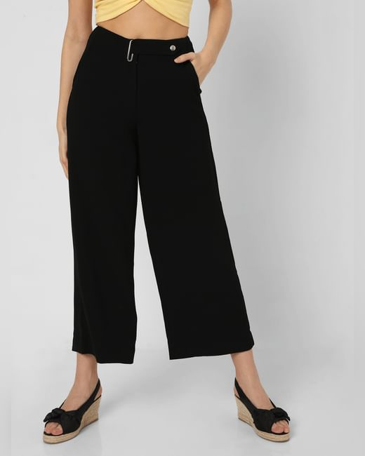 Black Mid Rise Flared Pants