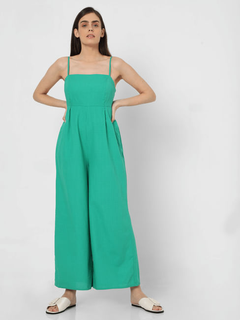 Green Check Strappy Jumpsuit