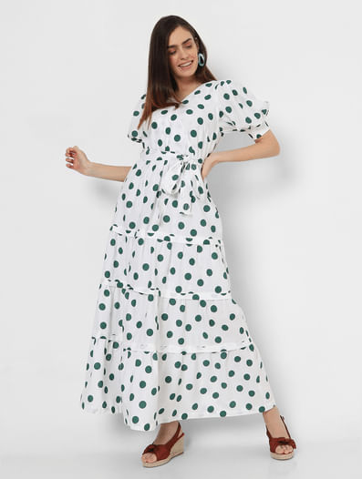 White Polka Dot Tiered Maxi Dress