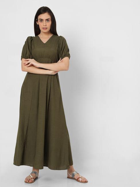 Green Empire Waist Maxi Dress
