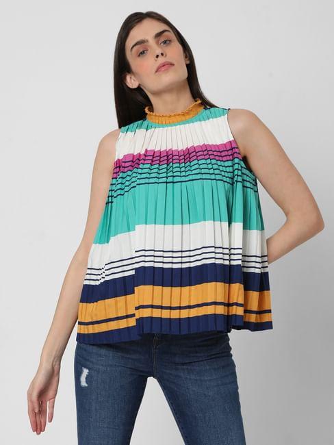 Multi-coloured Striped Pleated Top