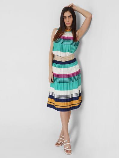 Multi-coloured Striped Pleated Skirt