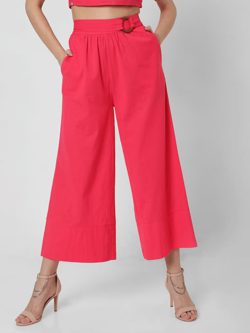 Pink High Rise Flared Pants