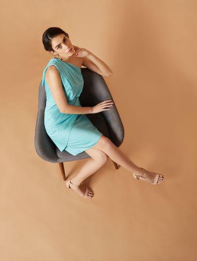 Blue One Shoulder Sheath Dress