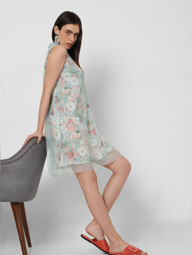 Green Floral Mesh Pleated Overlay Dress