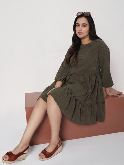 Green Textured Tiered Dress