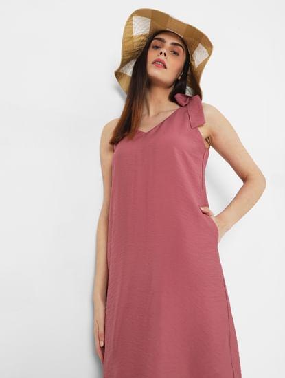 Pink Shoulder Tie Shift Dress