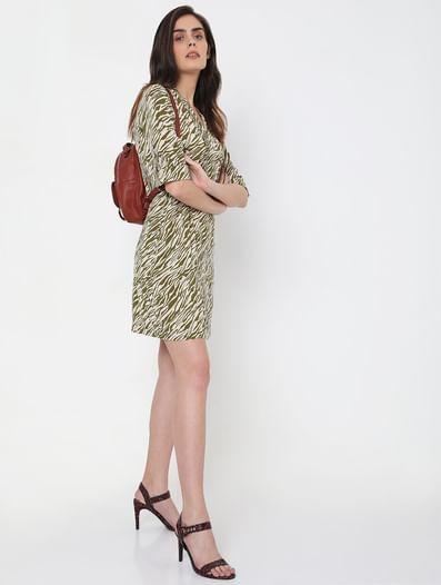 Green Abstract Print Shift Dress