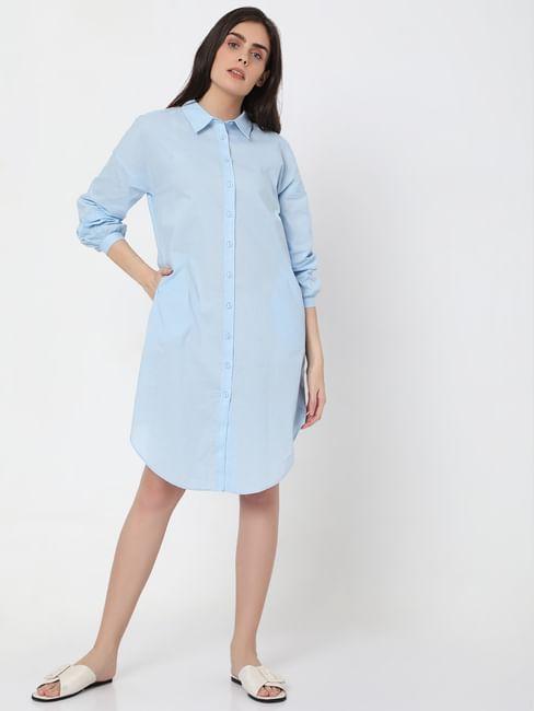 Blue Tunic Shirt Dress