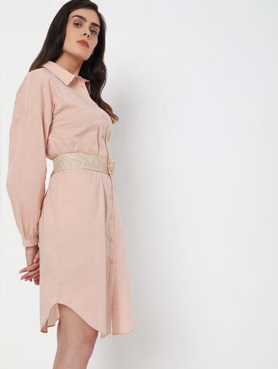 Light Pink Tunic Shirt Dress