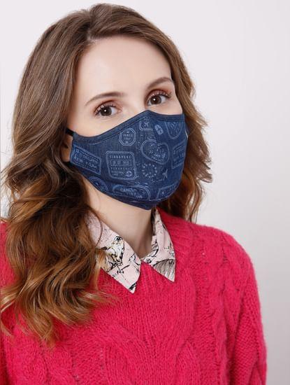 Blue Denim Printed Masks - Pack of 2