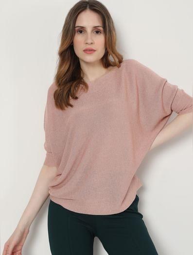 Pink Shimmer Knit Pullover