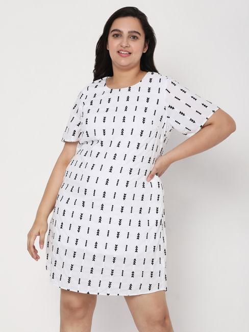 White Emboridered Shift Dress