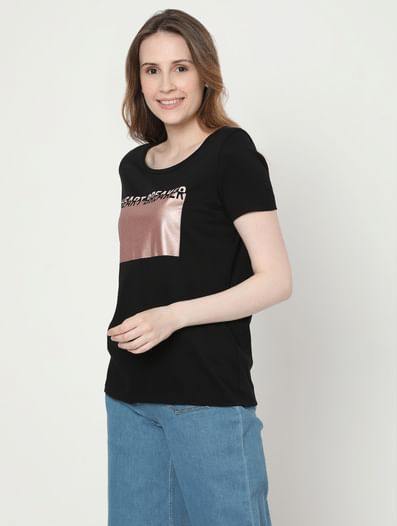 Black Typographic Foil Print T-shirt