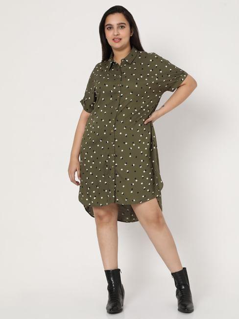 Green Dotted Shift Dress