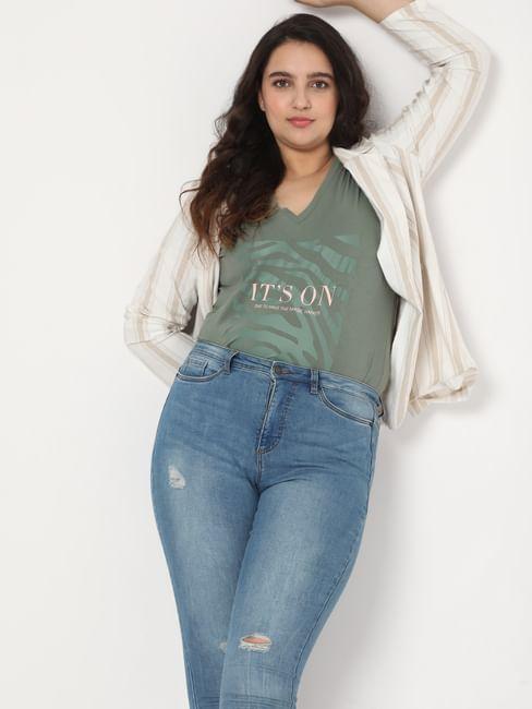 Green Slogan Print V Neck T-shirt