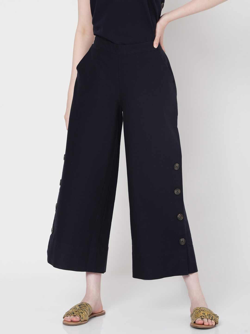 Blue High Rise Wide Leg Pants