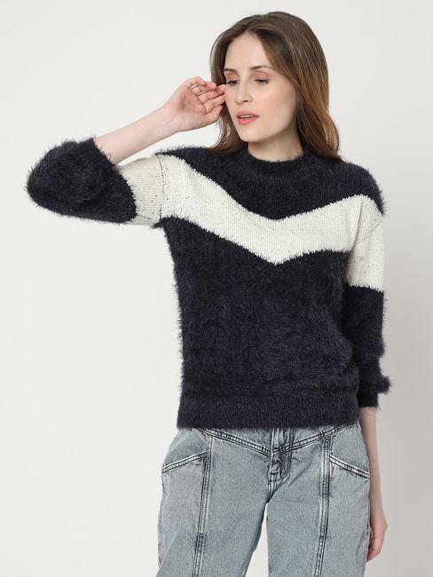 Blue Colourblocked Panelled Sweater