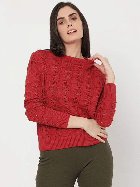 Red Self Design Knit Sweater