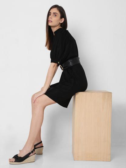 Black Puff Sleeves Shift Dress