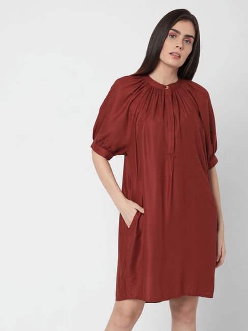 Deep Red Puff Sleeves Shift Dress