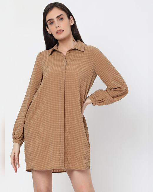 Brown Textured Check Shift Dress
