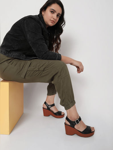 Green Mid Rise Utility Pants