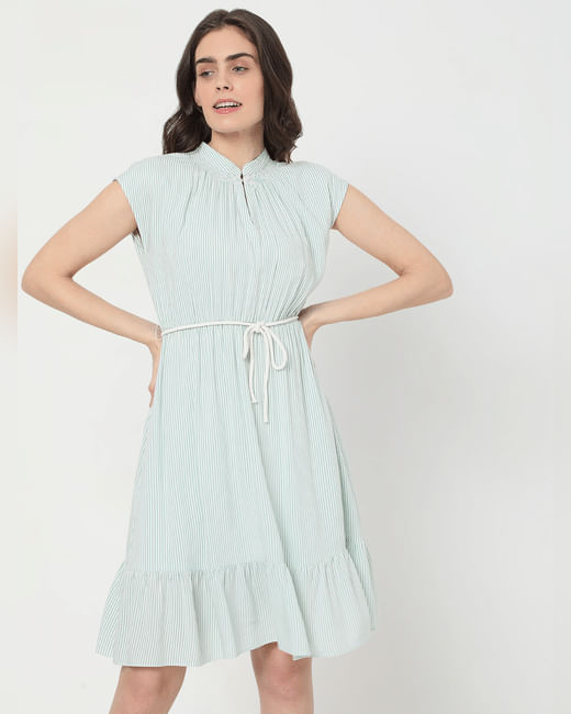 Green Striped Fit & Flare Dress