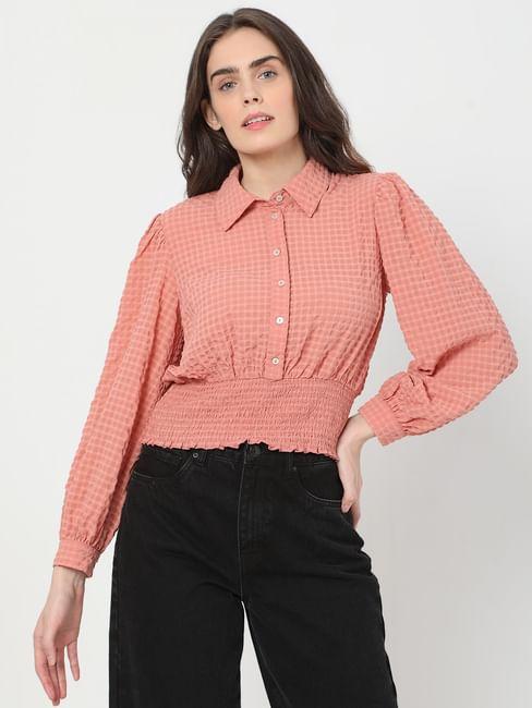 Coral Textured Check Shirt