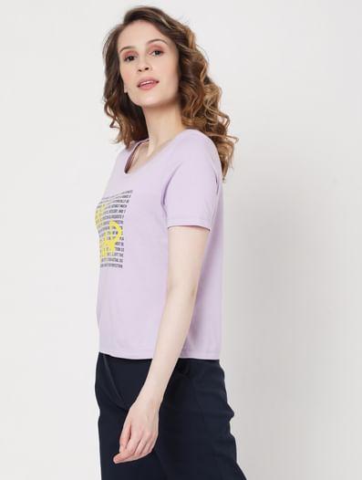 Purple Slogan Print T-shirt