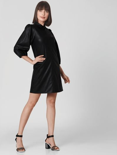 Black Shirt Collar Shift Dress