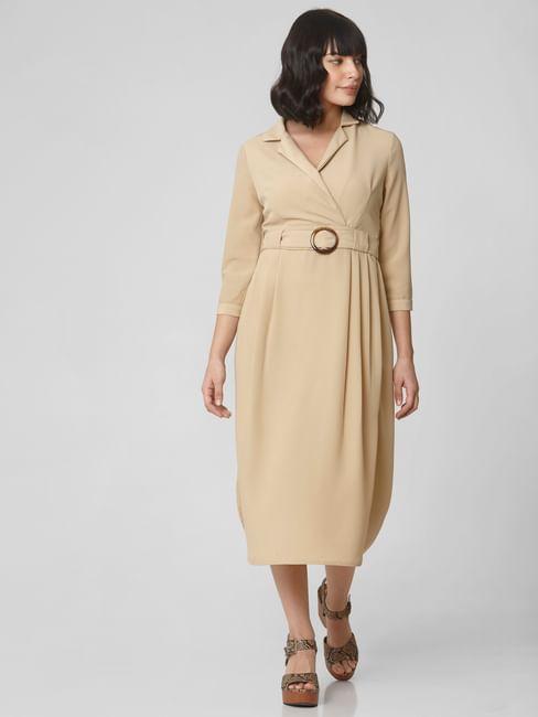 Beige Belted Midi Dress