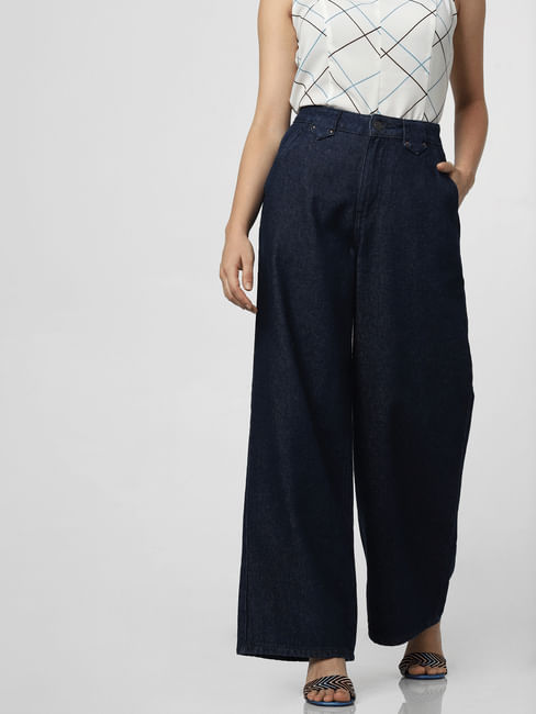 Blue High Rise Wide Leg Jeans