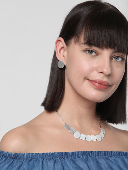 Silver Geometric Pendant Necklace Set