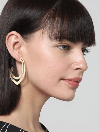 Golden Flat Circle Earrings